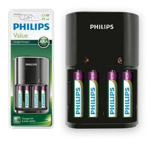 Cargador Philips Para 4 Pilas Aa/aaa C/pilas Recargables