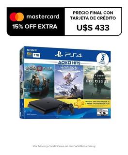 Play Station Ps4 Slim 1tb + 3 Juegos Fisicos +3 Meses Psplus