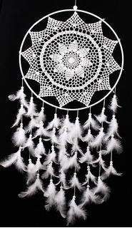 Llamador De Ángeles. Atrapa Sueños. Mandala. C Pluma.blanco