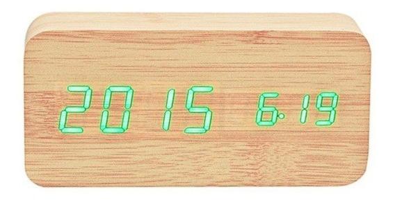Reloj Despertador De Madera Display Led Temperatura Y Fecha
