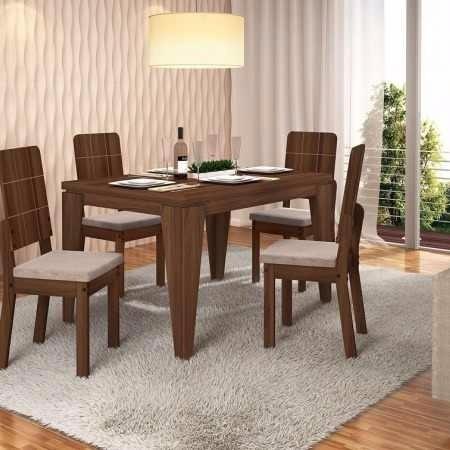 Mesa De Comedor + 4 Sillas Moderno Diseño