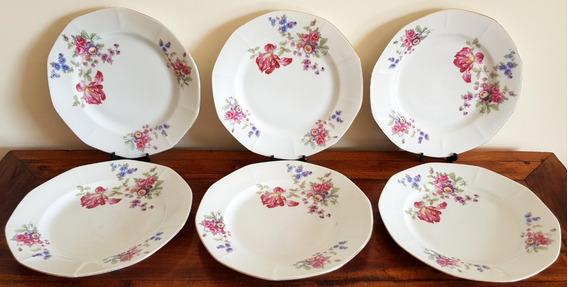 6 Platos Llanos En Porcelana De Bohemia Año 1918-1939
