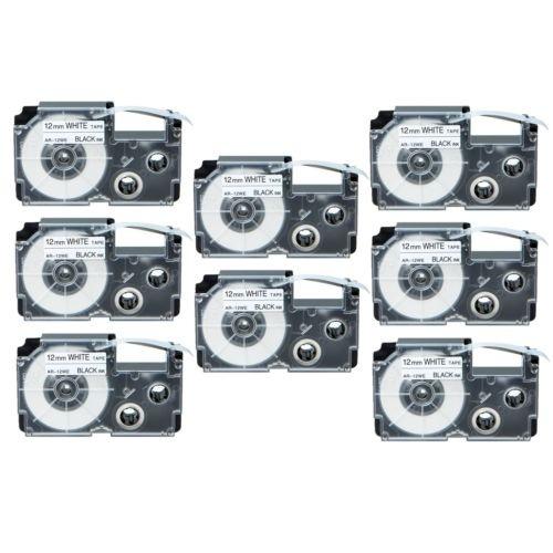 8pk Compatible Casio Xr-12we Negro Sobre Cinta Etiqueta Blan