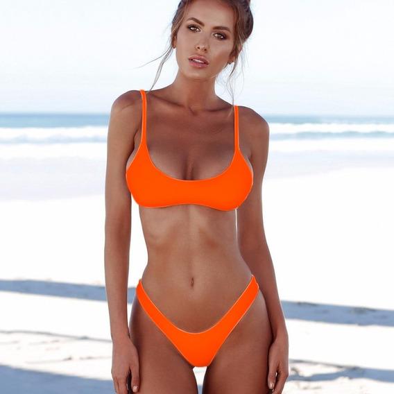 Traje De Baño Bikini Triángulo Push Up Naranja |x Encargue|