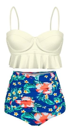 Mallas Bikini Crop Top Plus Size Tiro Alto
