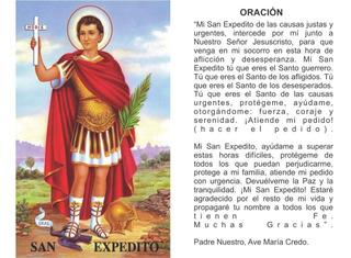 San Expedito - Estampa Con Oración Entrega Inmediata
