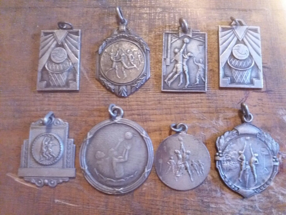 Lote Antiguas Medallas Basketball Art Deco Sin Uso
