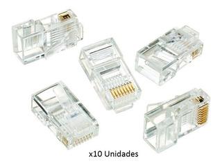 Fichas Conector Rj45 Cat5e Para Cables De Red - Bolsa X10