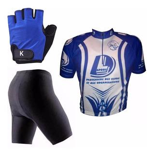 Set De Ciclismo Camiseta + Guante + Calza C/badana Mvdsport