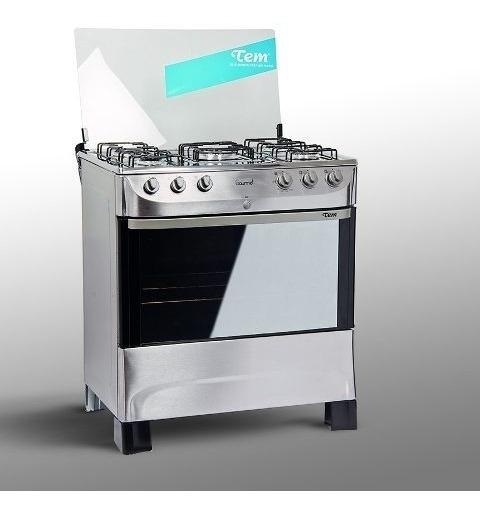 Cocina Tem Supergas/ Gas 5 Hornallas Acero Tienda Copacabana