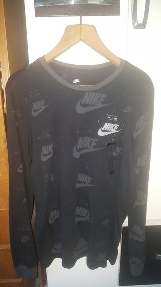 Camiseta Manga Larga Nike Negra Talle M Nueva Con Etiqueta
