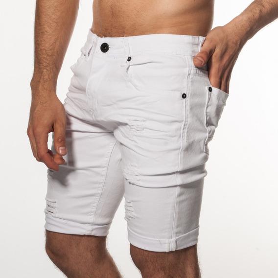 Bermuda Jeans Blanca Roturas Hombre Turk Charles 200/02