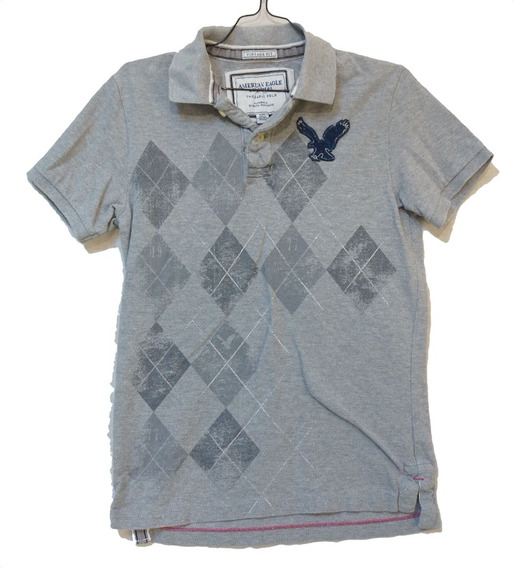 Remera Polo American Eagle Mejor Q Abercrombie Hollister Gri