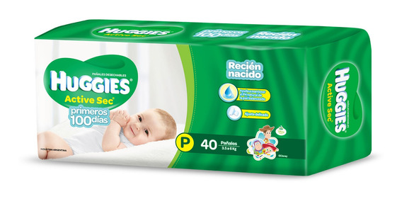 Pañales Huggies Active Sec P 40u - Bebés Y Niños