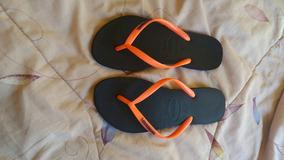 Havaianas Talle 39.40 Azules Con Naranja Como Nuevas