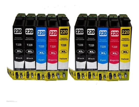 10 Cartuchos Compatibles Epson Xp220, 420 Xl, Doble Carga