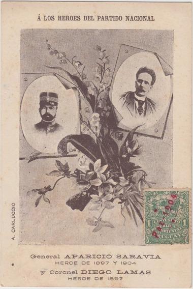 Antigua Postal Revolución Aparicio Saravia Sello Paz 1904