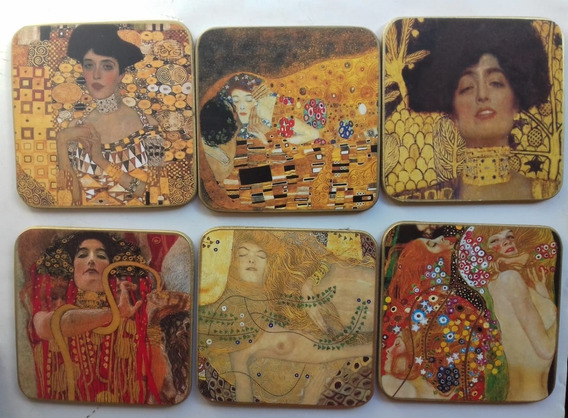 6 Posavasos Pinturas De Klimt Nuevos En Caja Made In Austria