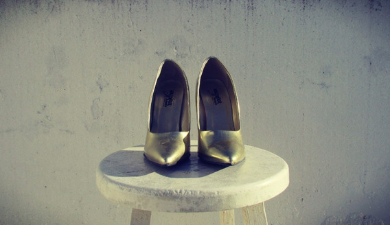 Zapatos Taco Alto Dorados