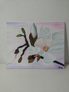 Cuadro Decorativo, De Flores Pintado A Mano.