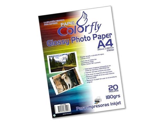 Papel Fotográfico A4 180gr 20hojas 10paq C/u $69.- Disershop