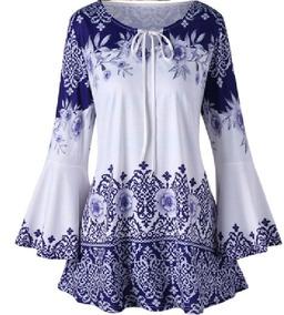 Blusa Etnica Blanca Y Azul Talle 2/3xl Grande Especial