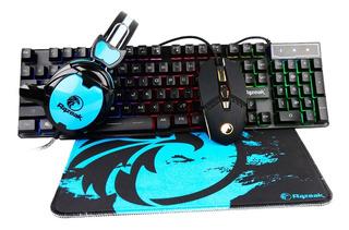 Combo Gamer 4 En 1 Teclado Auricular Mousepad Razeak Rgb Oy