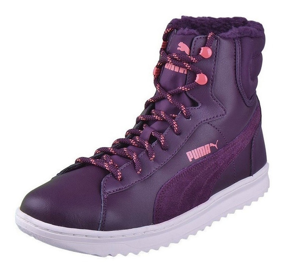 Puma Vikky Mid Lace Up Leather Violetas De Dama Del 36 Al 41