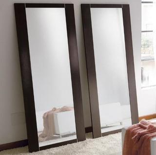 Espejo Largo Decoración -marco Imitación Madera 100 X 40 Cm
