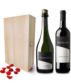 Vino + Champagne El Penitente En Caja De Madera Para Regalo
