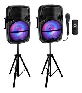 Parlante 15 Kit Activo + Pasivo Tripode Luces Microfono Dimm
