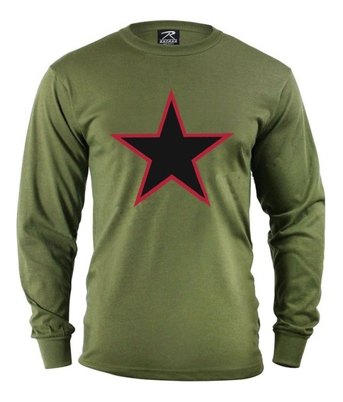 Camiseta Manga Larga Abrigo Verde C/ Estrella Xl Outlet