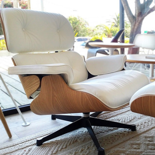Sillon Eames Lounge Chair, Cuero Italiano Blanco Y Roble.