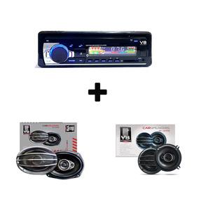 Combo Radio Bluetooth Usb + Parlantes 4 Pulg + Parlantes 6x9