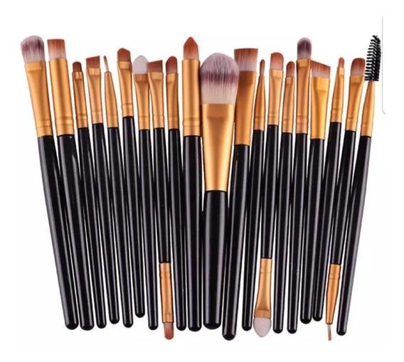 Maquillaje Brochas X20 Para Ojos+limpia Brochas Profesional