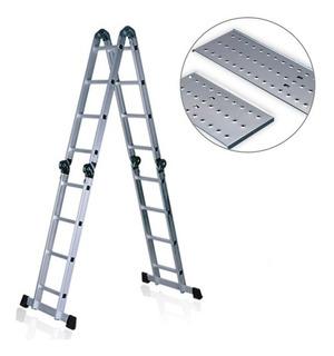 Escalera Andamio Aluminio 4.4 Mts 16 Escalones + Chapones