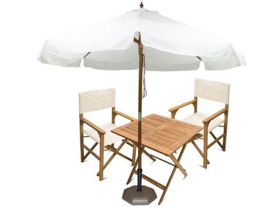 Set Mesa+2 Sillas+sombrillón+base Deck Exterior Disershop