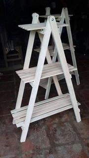 Escalera Madera Para Plantas Macetas Artesanías Libros Deco