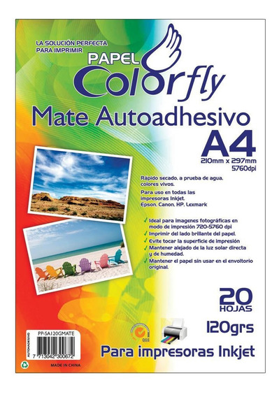 Papel Fotográfico Autoadhesivo Mate A4 20h X10 Paq Disershop