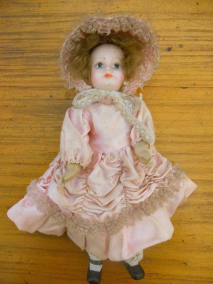 Muñeca Antigua Toda Porcelana, Articulada Y Vestida, 27 Cm.