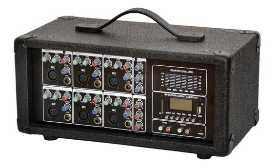 Consola Potenciada Amplificada Gcm608 Mp3 Fm Bluetooth Usb