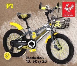 Bicicleta De Niño 16 Phoenix C/ruedas Y Caja Pedal Metal
