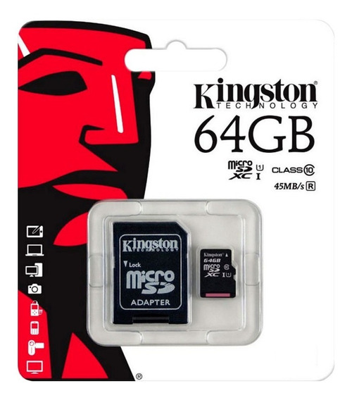 Memoria Microsd Kingston 64gb Clase 10 Con Adaptador Sd Loi