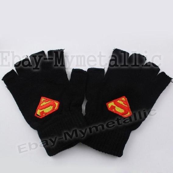 Súper Héroe Superman Logo Medio Dedo Lana Tejer Guantes Un P