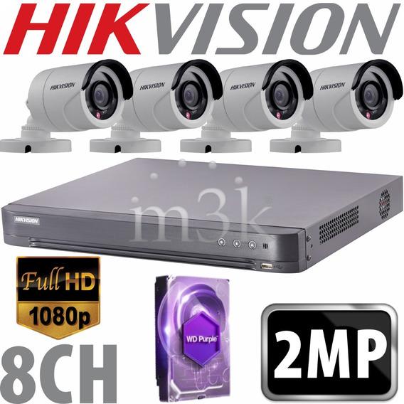 Kit Seguridad Hikvision Dvr 8 +1tb + 4 Camaras 2mp Ip66 Ext