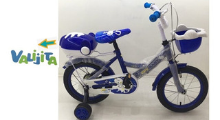 Bicicleta Azul Rodado 14 Con Canasto Y Valija Trasera