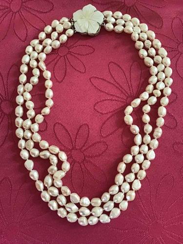 47cfbab63bd7 Collar De Perlas Naturales De Tres Vueltas