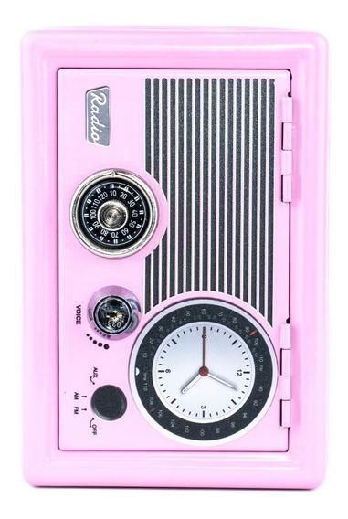 Alcancía Caja Fuerte Radio Retro Rosada