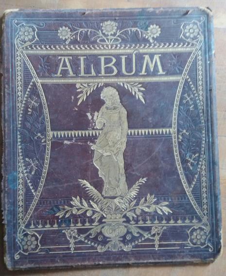 1900 Tapa De Album Fotos Postales Art Nouveau En Cuero