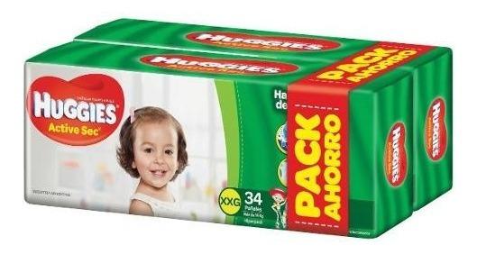 Pañales Huggies Active Sec Xxg 68u - Bebés Y Niños